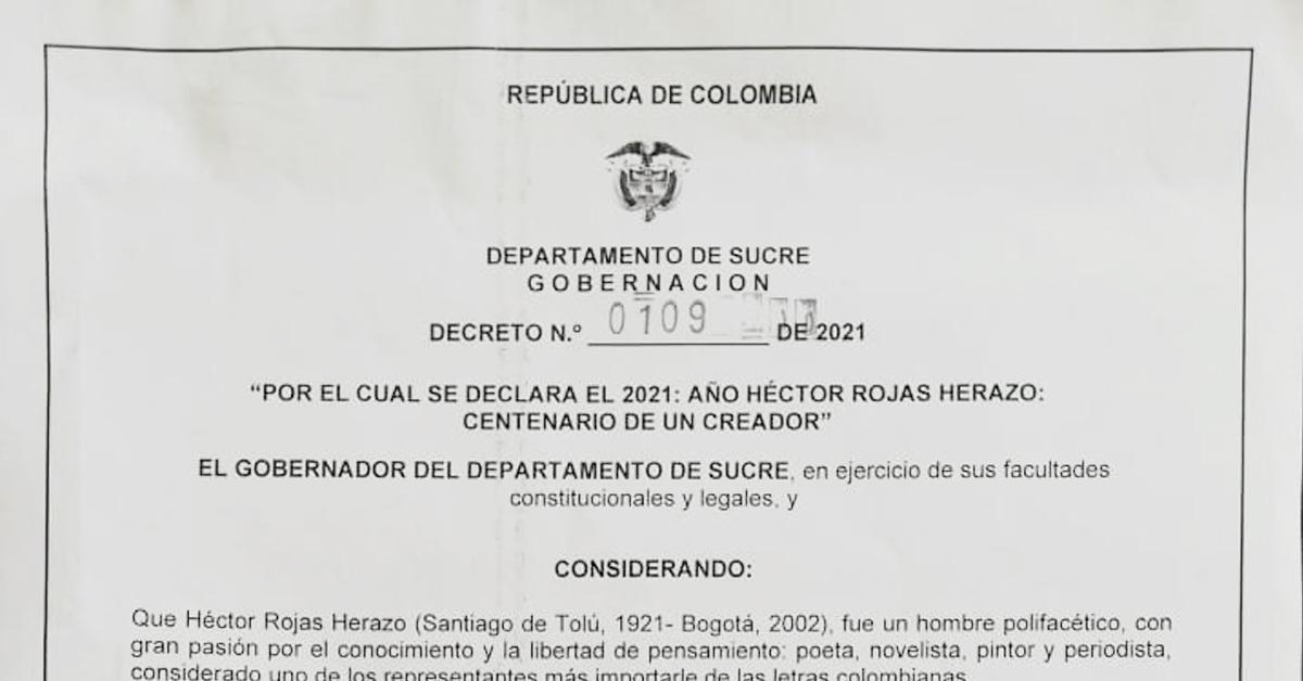 Gobernador de Sucre declara 2021 como año Héctor Rojas Herazo: centenario de un creador.